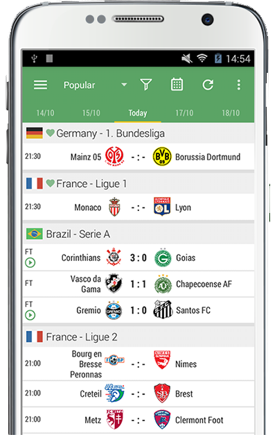 Livescore application mobile